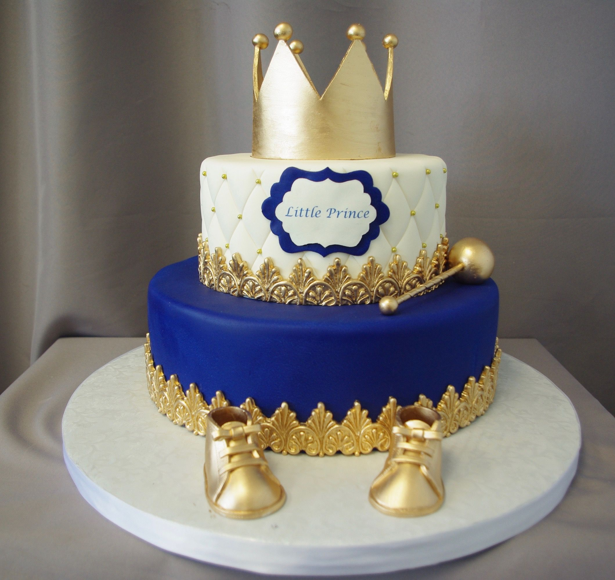 Little Prince Crown Baby Shower Cake