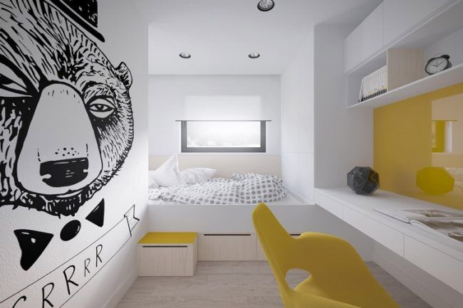 Podestbett Bauen Kinderzimmer Bilder Weiss Gelb Jugendzimmer