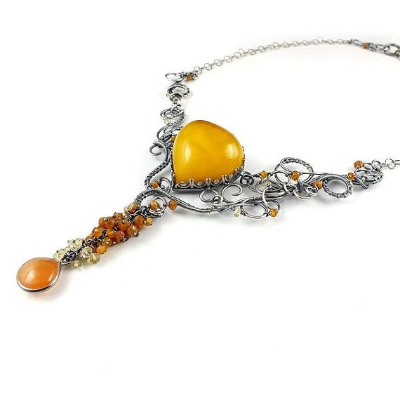 Hey, I found this really awesome Etsy listing at https://www.etsy.com/listing/246042810/luxury-wire-wrapped-necklace-amber