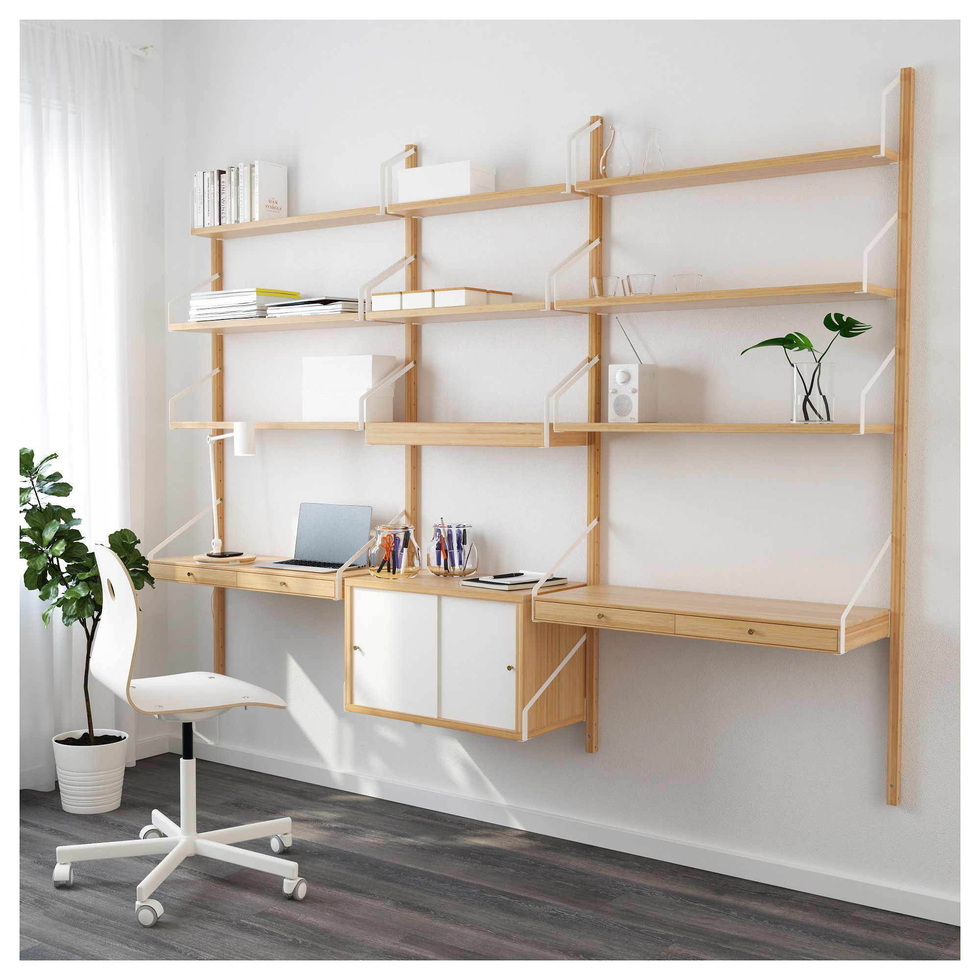 Wall Mounted Workspace Combination Svaln 196 S Bamboo White