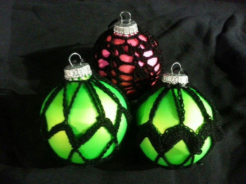 Neon crochet ornaments
