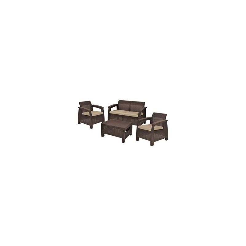 Conjunto ratan resina corfu lounge keter set marron | Curver | Ideas ...