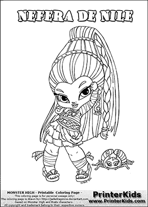 Monster High Nefera De Nile Baby Chibi Cute Coloring Page