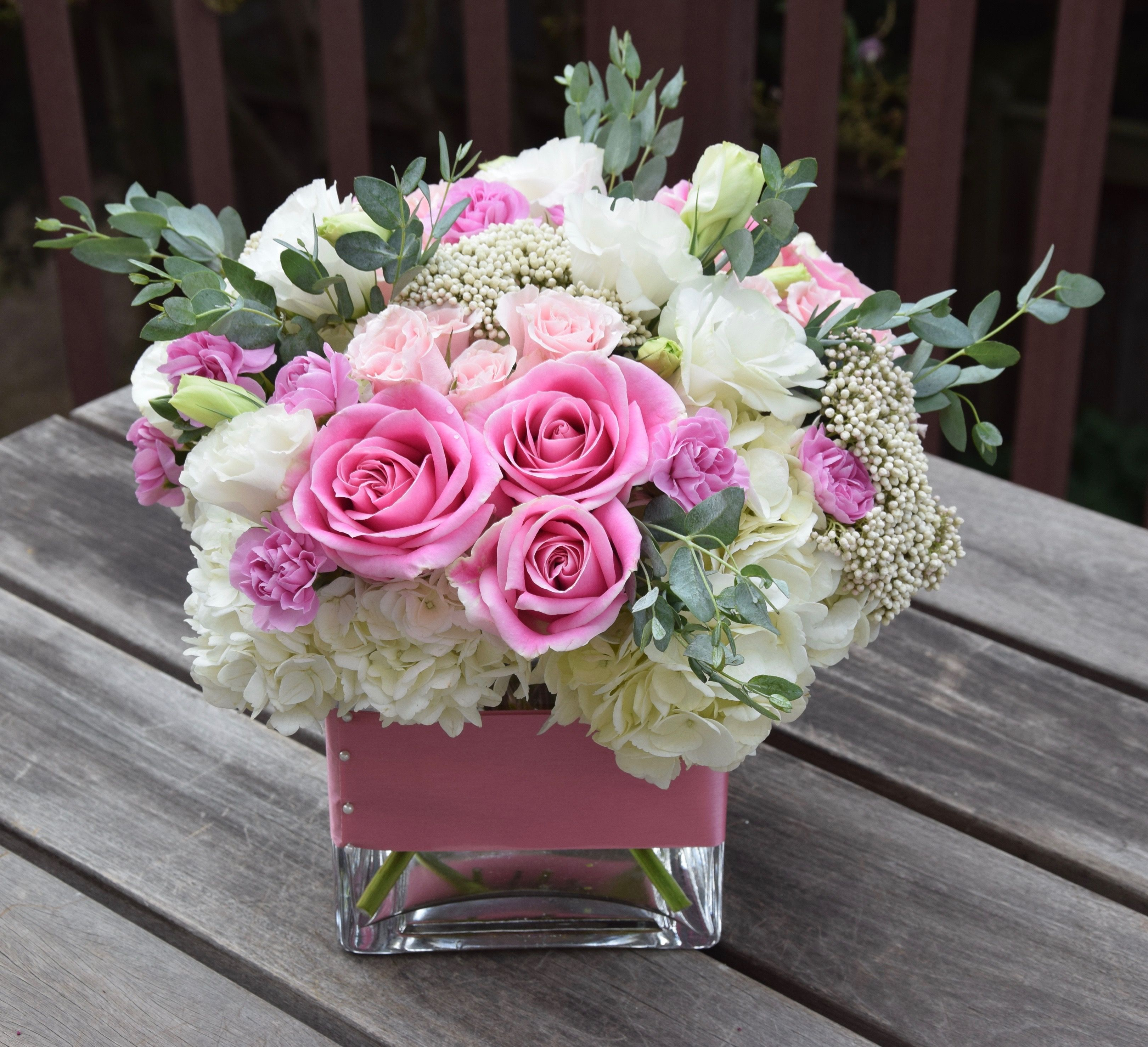 Sweet Flower Arrangement With Pinks And Whites Hydrangeas Roses Spray Roses Mini Carnations Eucalyp Flower Arrangements Valentines Flowers Flower Delivery