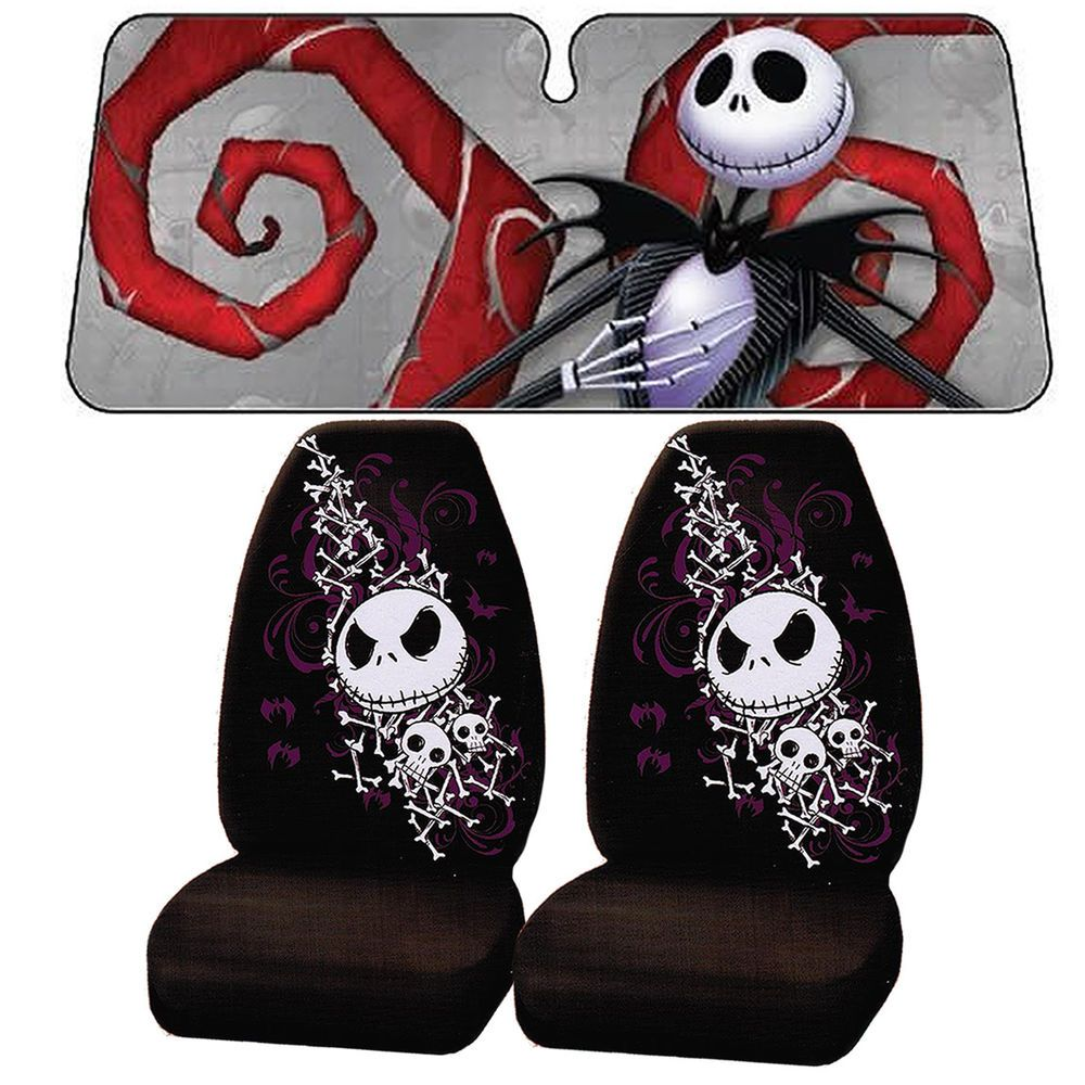 3 pc Nightmare Before Christmas Jack Skellington Seat Covers Sun ...