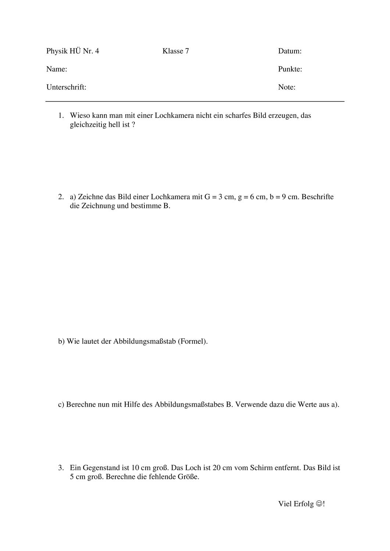 Aufgabenblatt zur Lochkamera   Variante 20 – Unterrichtsmaterial im ...