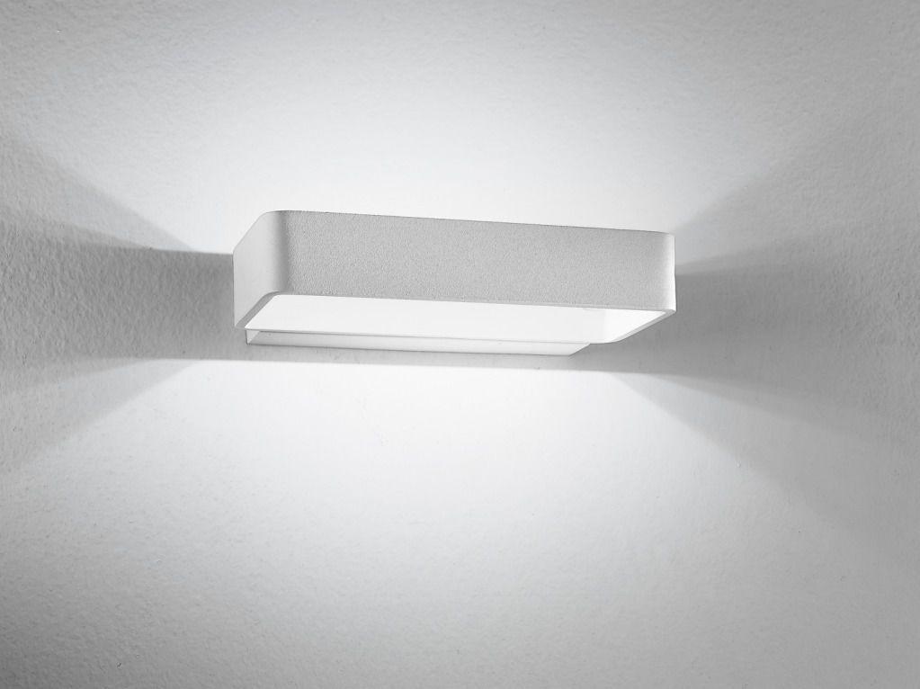 Applique lampada parete led design moderno acciaio bianco luce alto