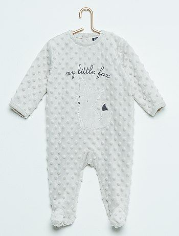Pyjama Renard Pois Reliefes Gris Beige Bebe Fille Kiabi