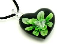 Awesome Murano Lampwork Floral Art Glass Heart Shaped Pendant #127