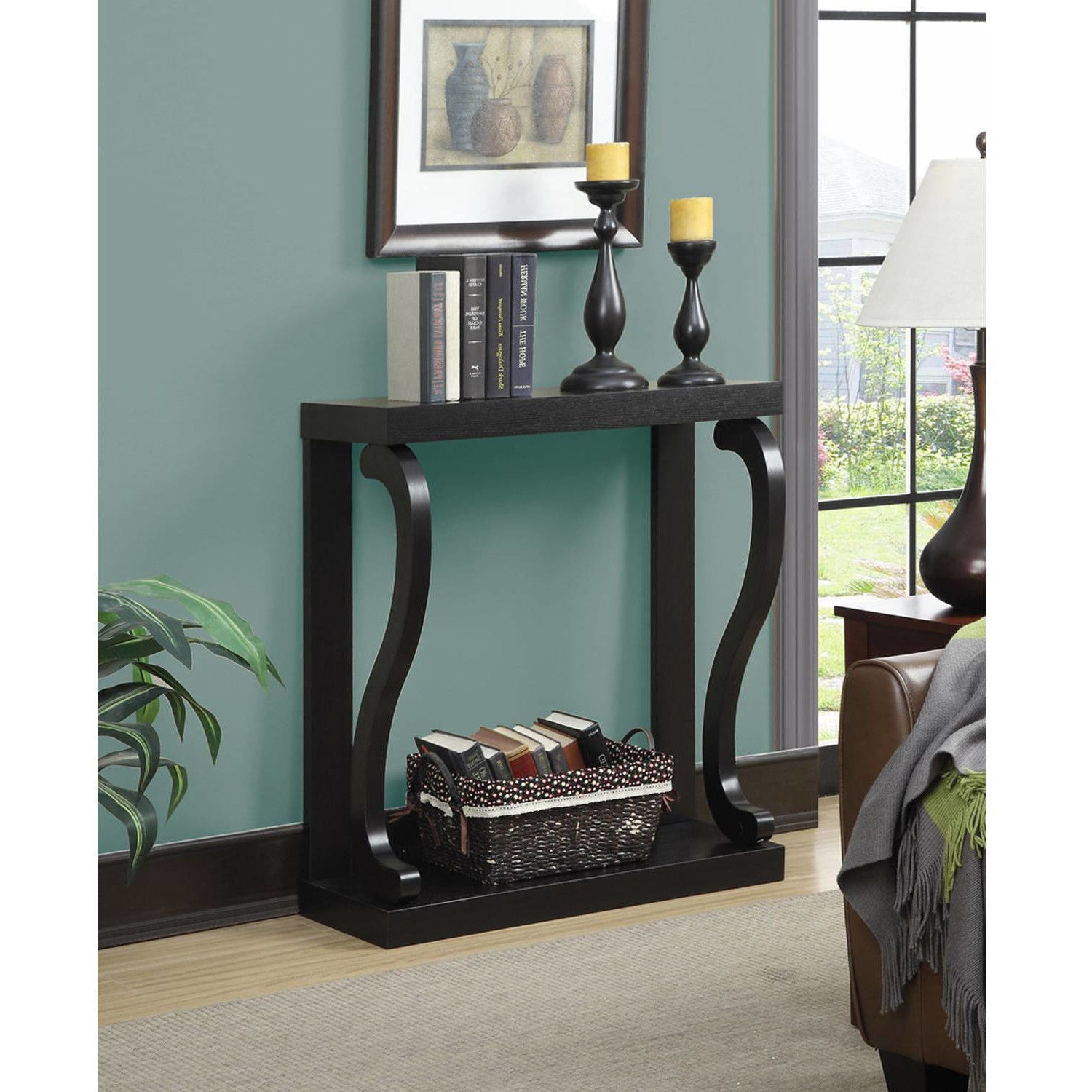 Modern Wood Console Table Accent Entryway Sofa Hall Entry Espresso