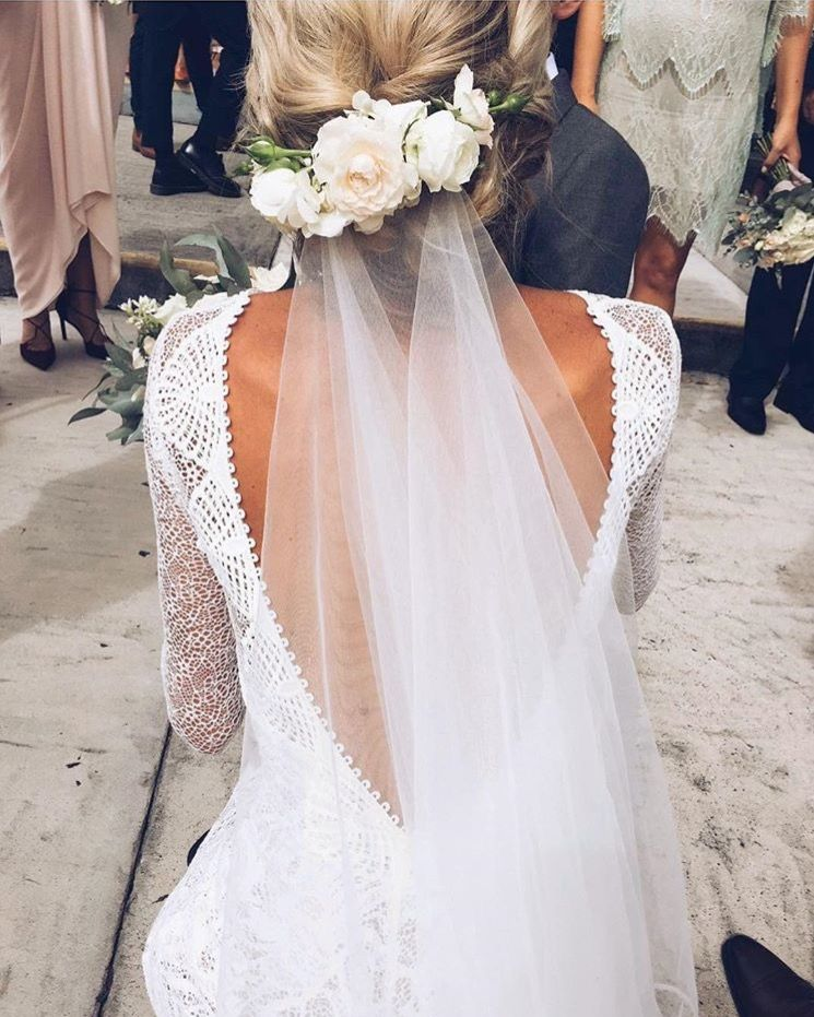 Backless Dress Flowers And Veil Is Spot On Bride Wedding Hairstyles With Veil Grace Loves Lace
