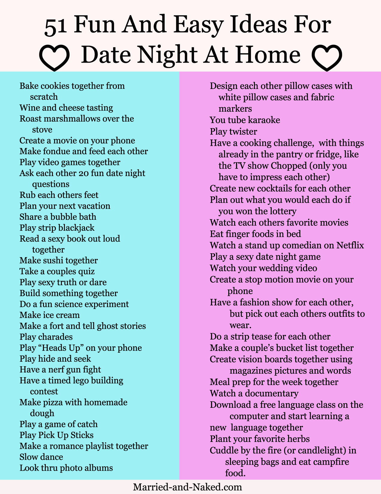 Date Night Questions For Married Couples - Married and Naked ...