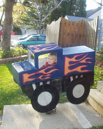Monster-truck costume made from boxes, tape, and paint attached to ...