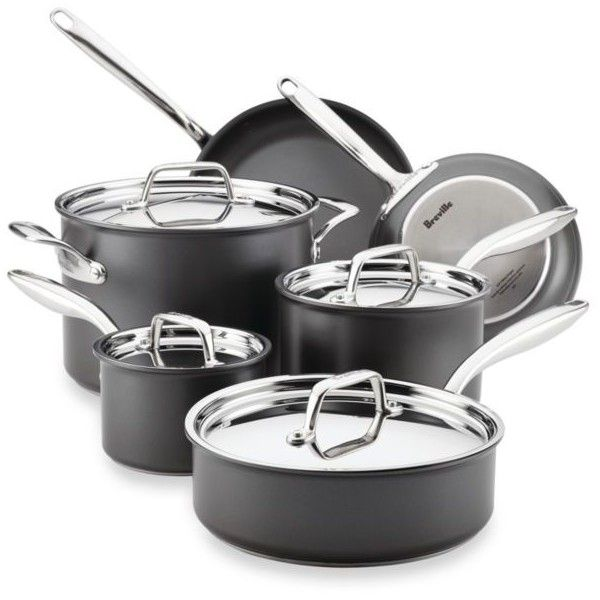 Breville Gray Thermal Pro8482 10-Piece  Hard-Anodized Nonstick... (1.590 BRL) ❤ liked on Polyvore featuring home, kitchen & dining, cookware, grey, no stick cookware, breville, hard anodized nonstick cookware, non-stick cookware and hard anodized nonstick cookware set