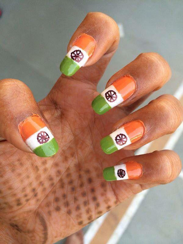 Indian flag on nails #indianflag #nailart | Nail art, Nails ...