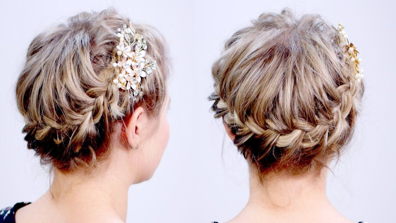 Super Cute French Braided Crown Updo For Short Hair Milabu Youtube Short Hair Updo Braided Crown Hairstyles Braid Crown Short Hair