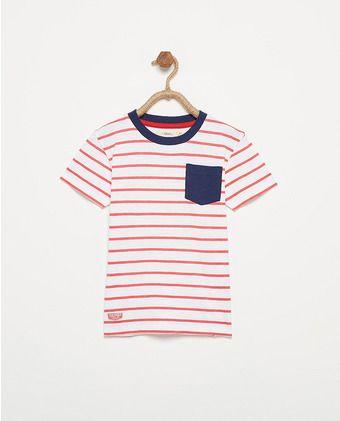 Camiseta de niño Sfera con rayas y bolsillo  34fe01c78b9