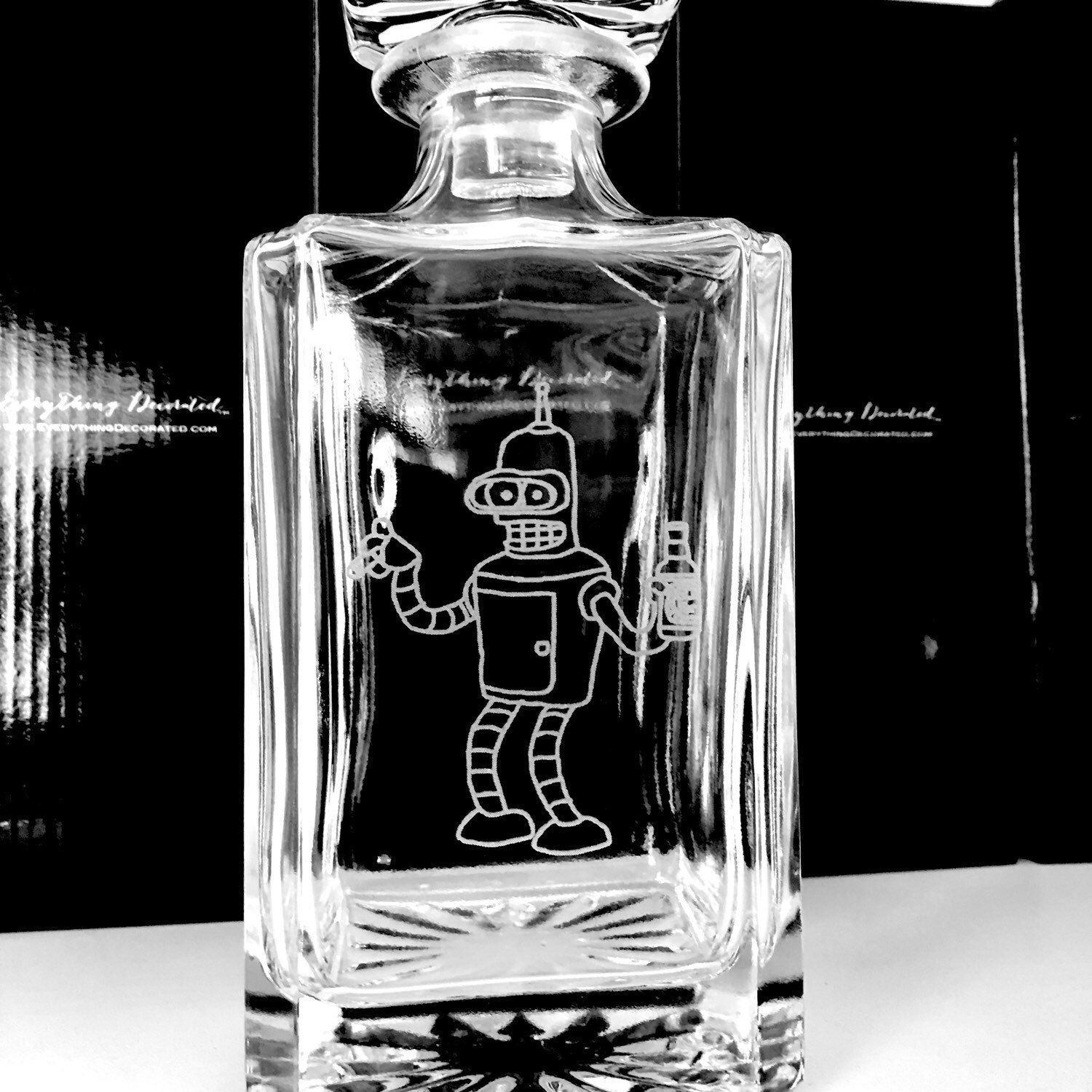 Custom Glass decanter with all glass stopper, great gift for ...