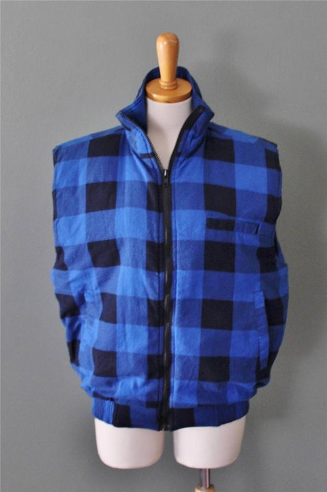 0cd540052b Vtg 80s Ozark Trail Buffalo Plaid quilt Flannel Vest men L blue black Check  C2  OzarkTrail  Vest