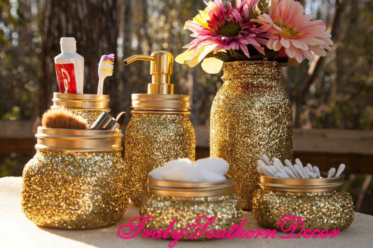 6 Piece Gold Glitter Bathroom Set Mason Jar