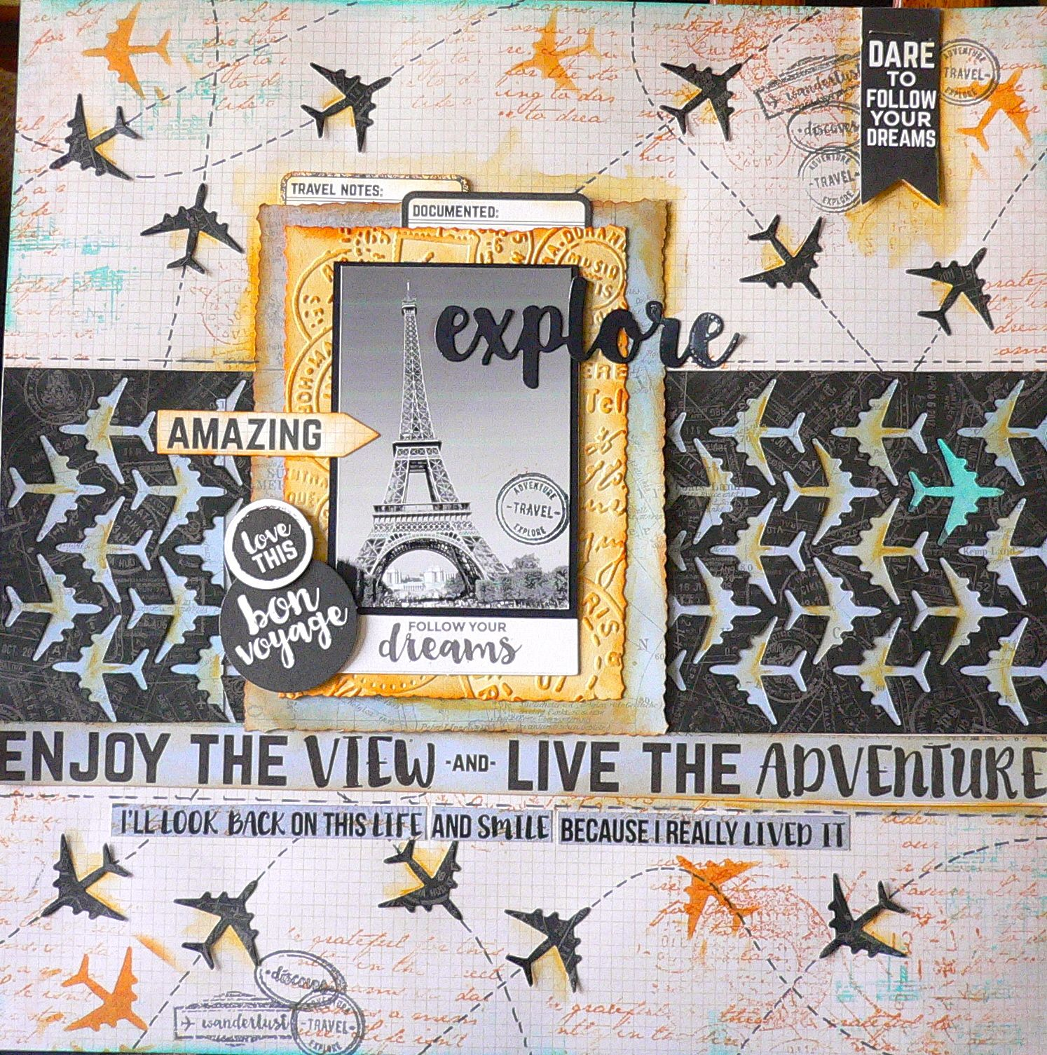 Scrapbook paper collections - Enjoy The View Layout Kaisercraft Just Landed Paper Collection