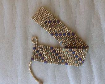 Metallic Cube Bead and Delica Peyote Stitch Bracelet