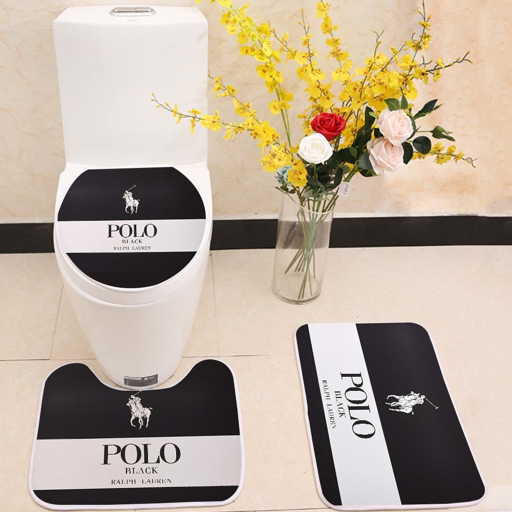 Ralph Lauren Polo Logo Floor Carpet Toilet Rug Lid Cover 3 Piece