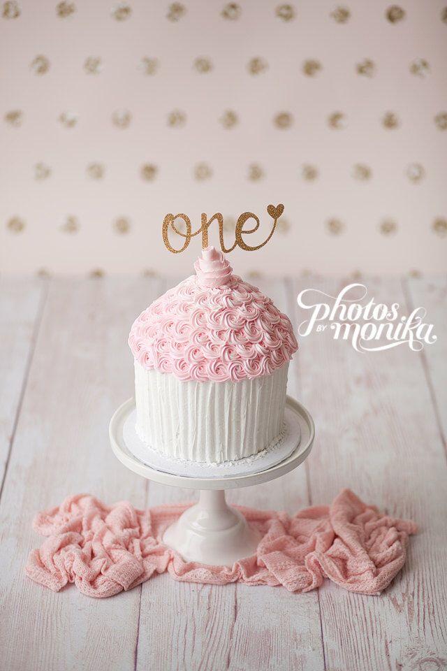 One Cake Topper First Birthday Girl Cake Topper Heart