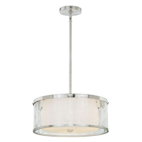 vaxcel vilo satin nickel threelight drum pendant with outer water glass - Drum Pendant Lighting