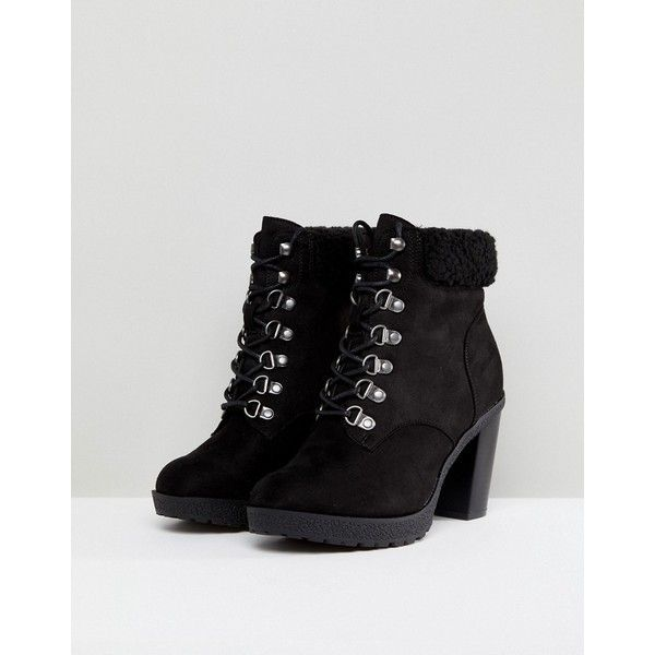 c552b773d4 New Look Wide Fit Heeled Hiker Boot ( 28) ❤ liked on Polyvore featuring  shoes
