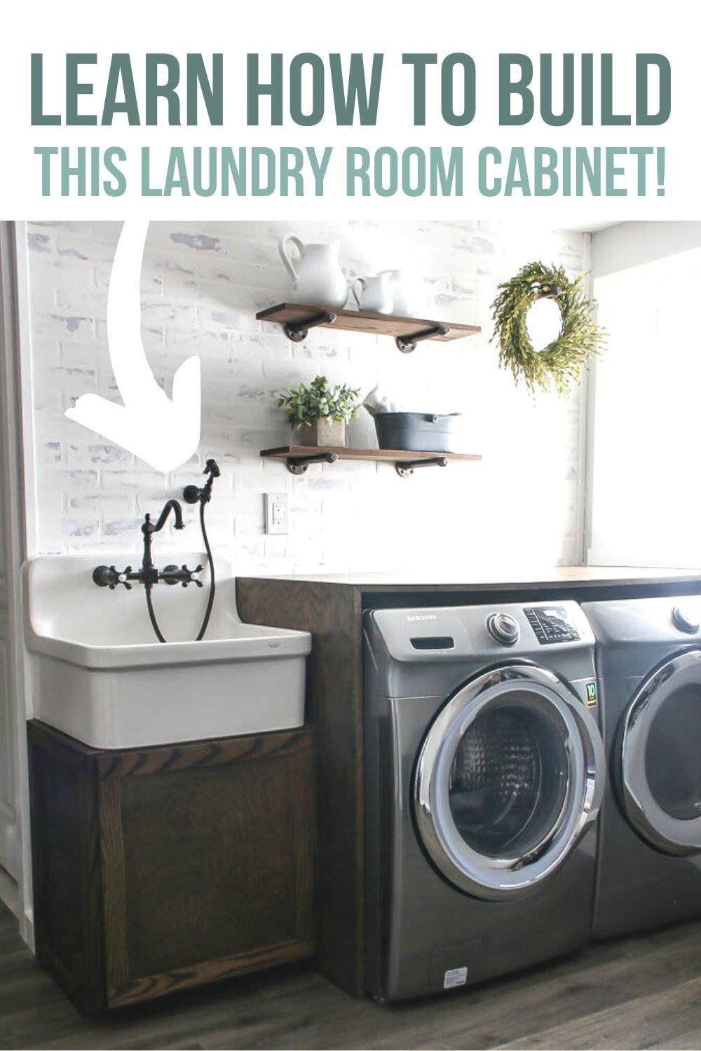 Diy Farmhouse Sink Cabinet For Laundry Room In 2020 Laundry Room