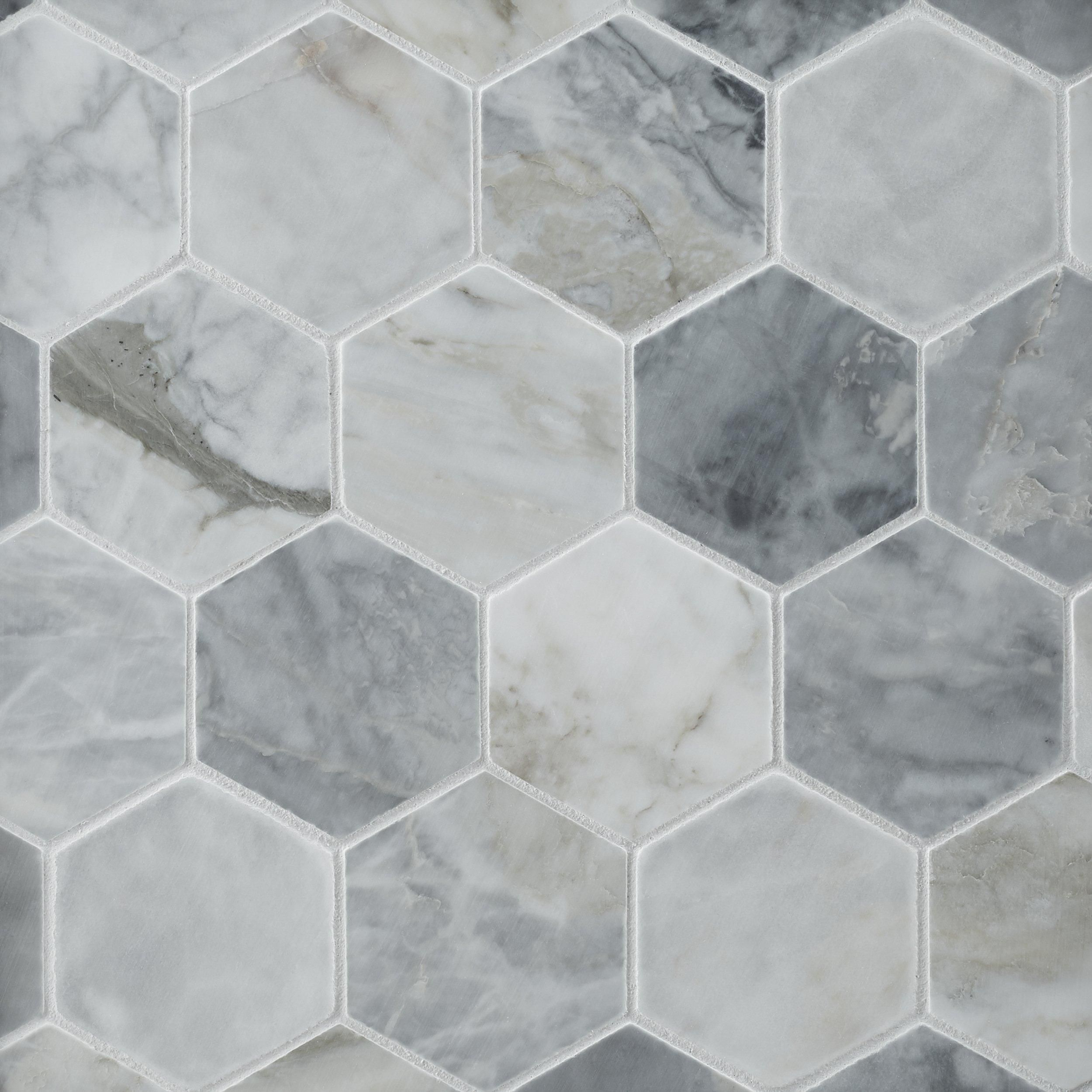 Calacatta Bluette 3 In Hexagon Polished Marble Mosaic In 2020 Marble Mosaic Hexagonal Mosaic Decorative Tile