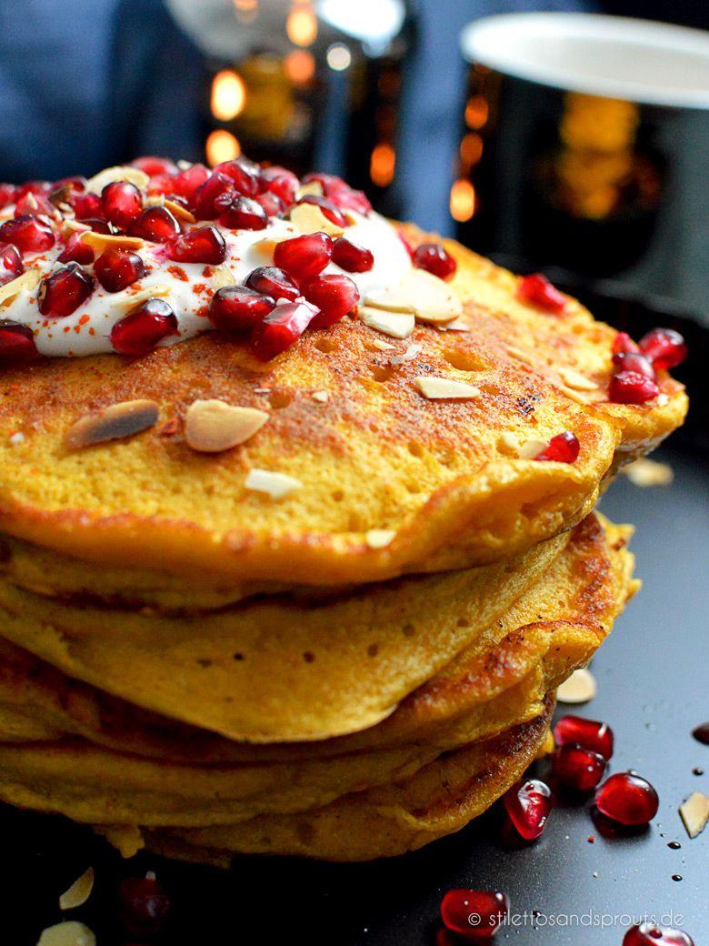 Kürbis Ricotta Pancakes Mit Kokos Schmand Topping Desserts