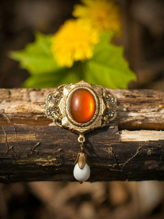 "Vintage Baroque Brass Steampunk Honey Matt Cabochon Brooch with Natural Pearl Pendant ""Renaissance"" Victorian Estate Jewelry"