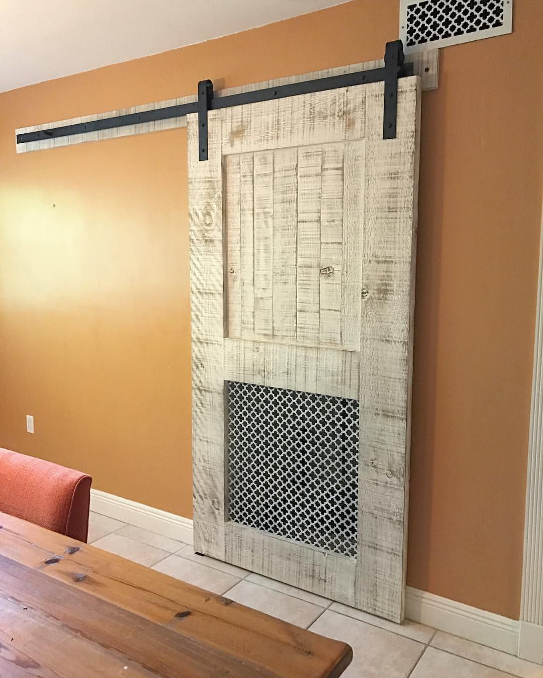Barn Door With Built In Grate For A C Closet Build A Closet Barn Door Doors