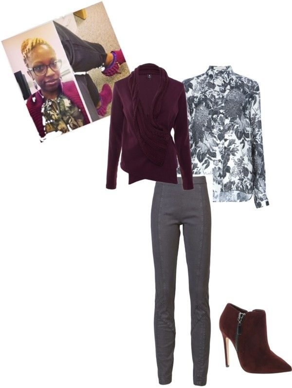 """Burgundy & Charcoal"" by b-ayesha on Polyvore"