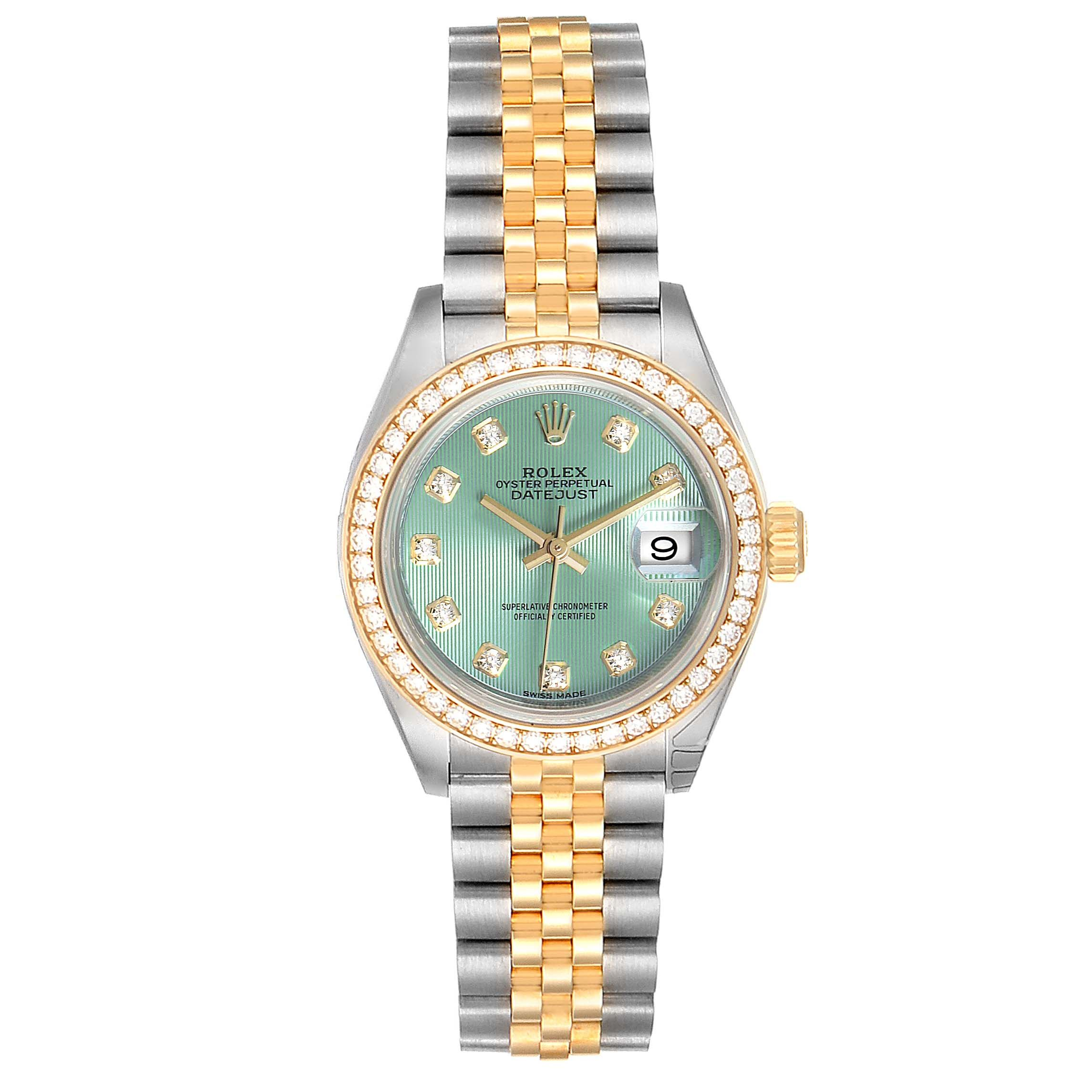 Rolex Datejust 28 Steel Yellow Gold Diamond Ladies Watch 279383 Unworn