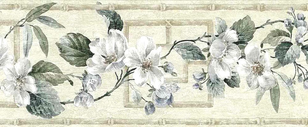 White Dogwood Branches Beige Taupe Green Trellis Uk Wallpaper Border 71b35270 Brewster Co Floral Wallpaper Border Wallpaper Border Vintage Floral Wallpapers