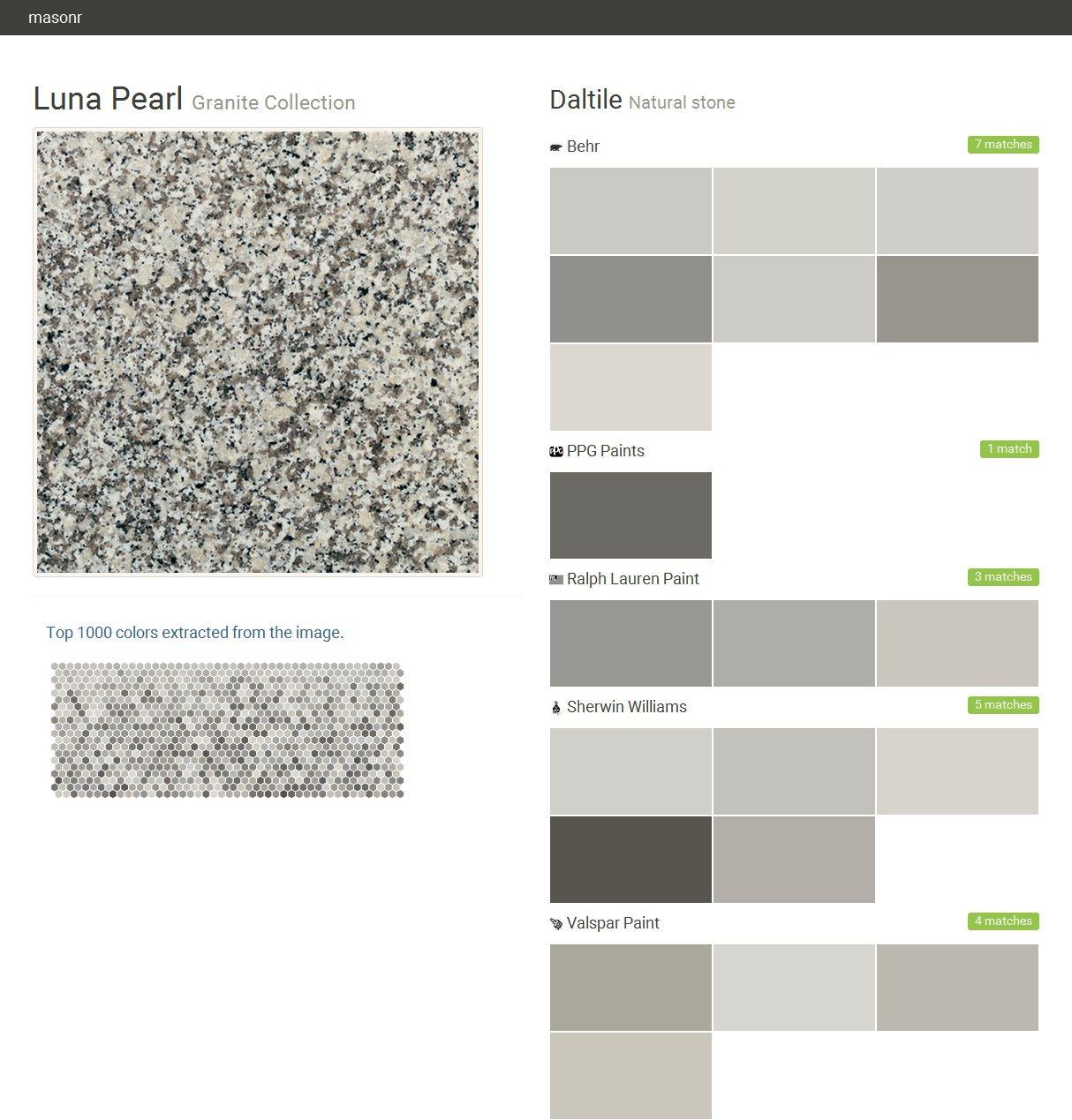Luna Pearl Granite Collection Natural Stone Daltile Behr Ppg