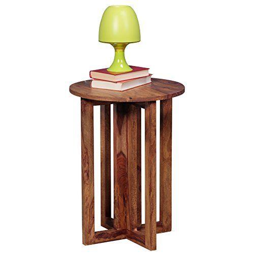 WOHNLING Beistelltisch Massiv-Holz Sheesham Design Wohnzimmer - wohnzimmer holztisch massiv