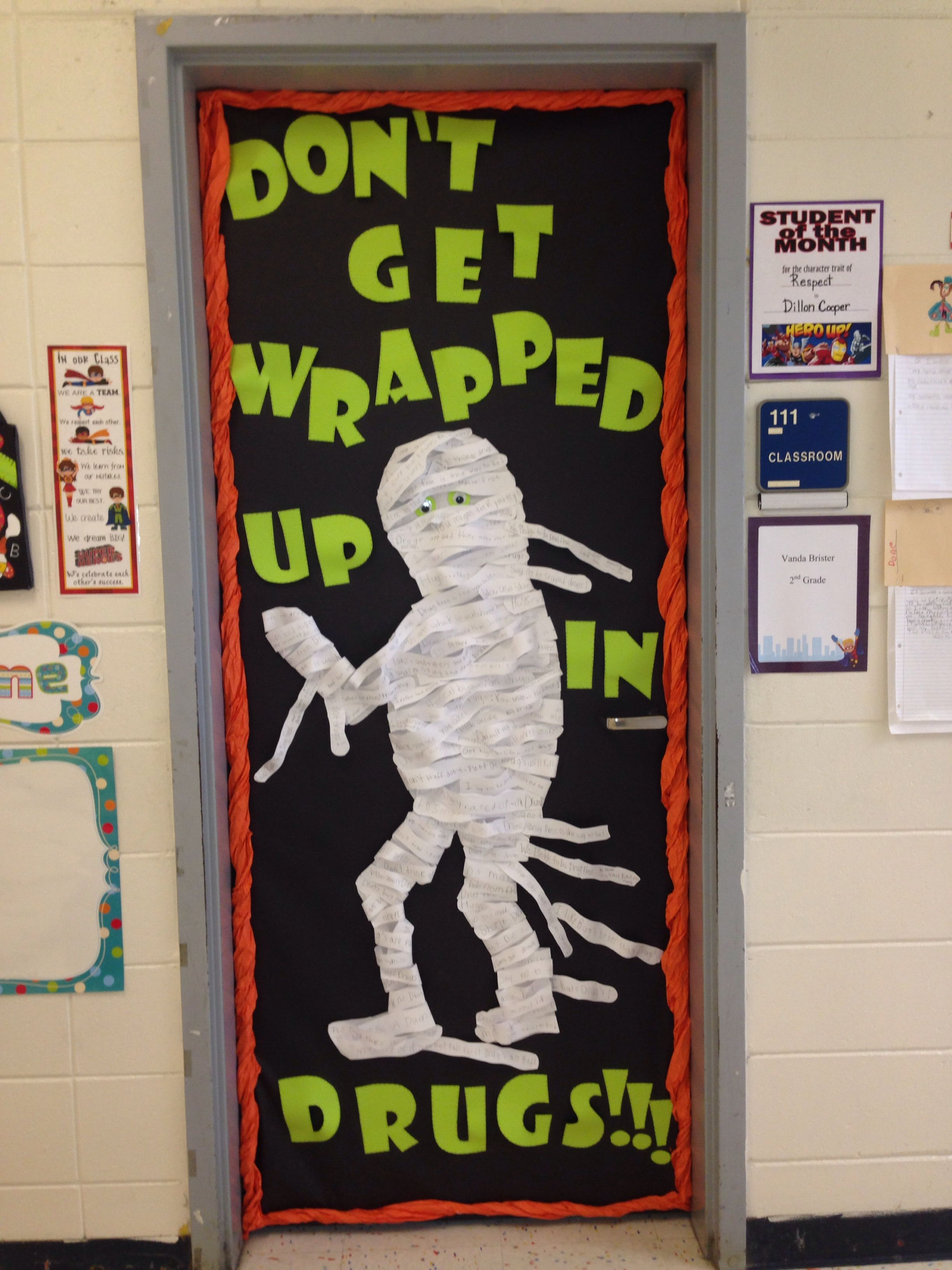 Red Ribbon Week Door! \ - Halloween Office Door Decorating Contest Ideas