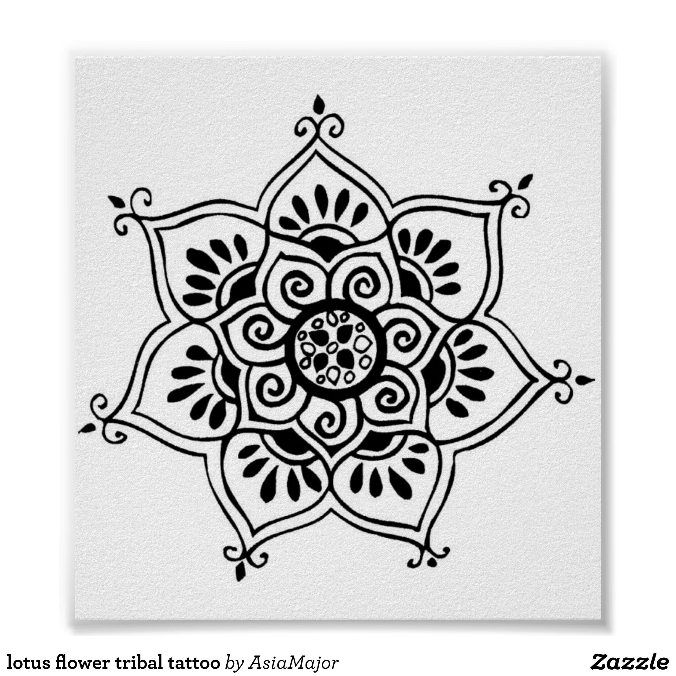 Lotus flower tribal tattoo poster mandala designs pinterest lotus flower tribal tattoo poster izmirmasajfo