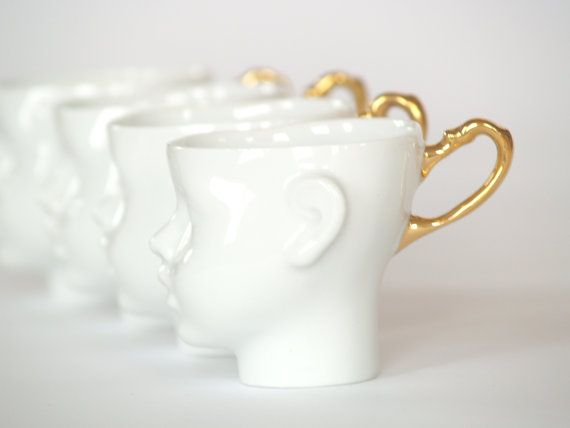 Doll head cups  coffee mug white and gold porcelain by endesign