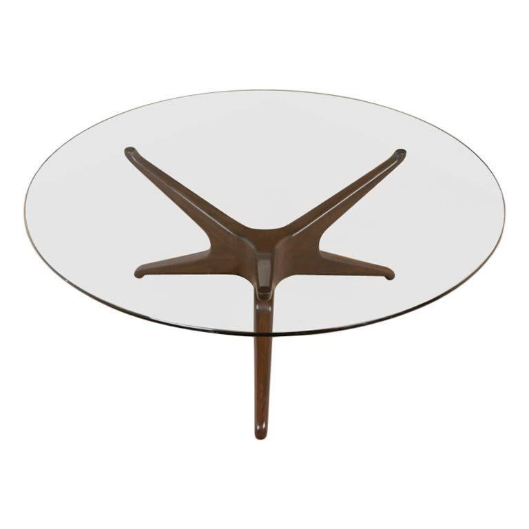 Mid century solid walnut SPIDER leg glass coffee table Spider