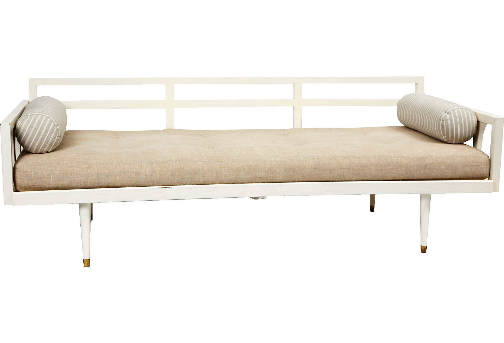 1960s Danish daybed with linen cushion with foam fill and bolsters. Painted  white wood frame  brass sabots on feet.  3599 at OKL. 41aec8822c