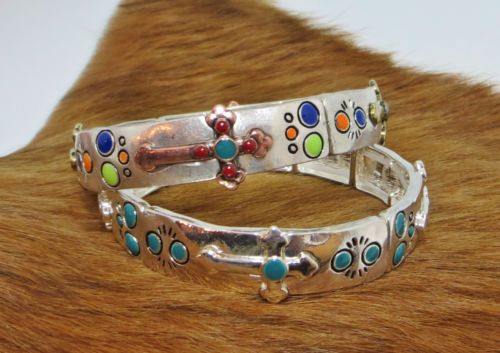 COWGIRL bling CROSS BRACELET Silver Turquoise GYPSY WESTERN stretch bangle OUR PRICES ARE WAY BELOW RETAIL! ALL JEWELRY SHIPS FREE! baha ranch western wear www.baharanchwesternwear.com ebay seller id soloedition