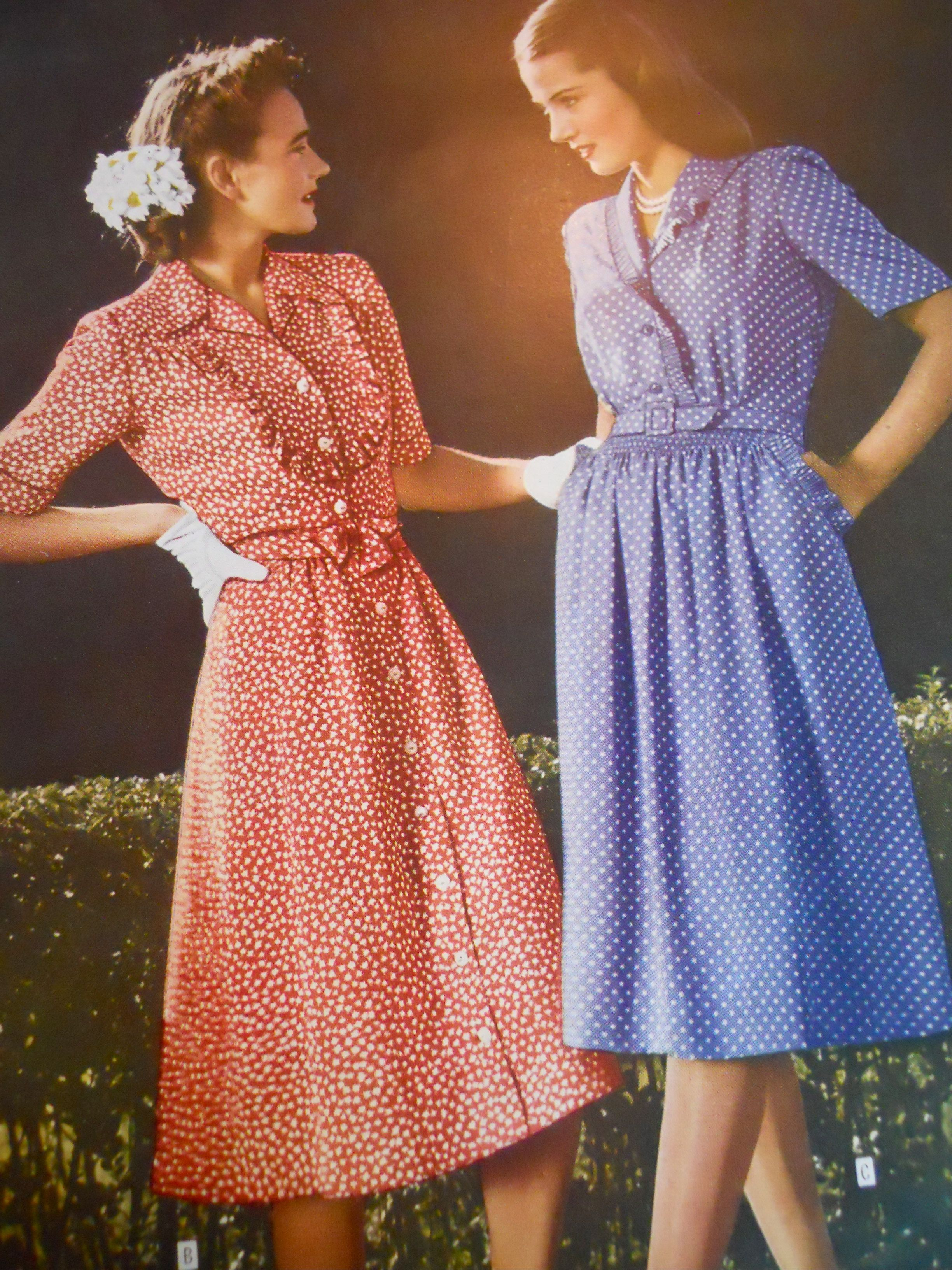 WWII era casual dresses, Sears 1944 | 1940s Fashions ...