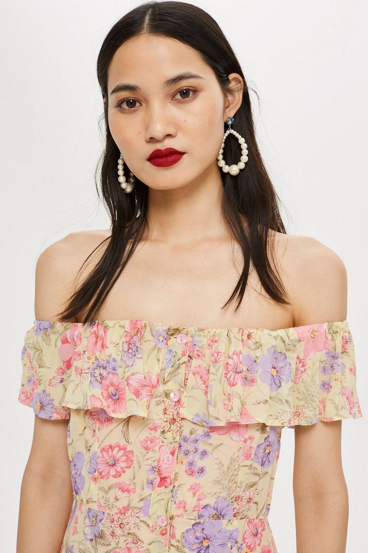e84236c4 Topshop Floral Maxi Bardot Dress