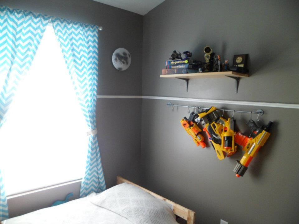 Nerf gun storage. Use a 39 inch rod from IKEA (Bygel - $2.99)