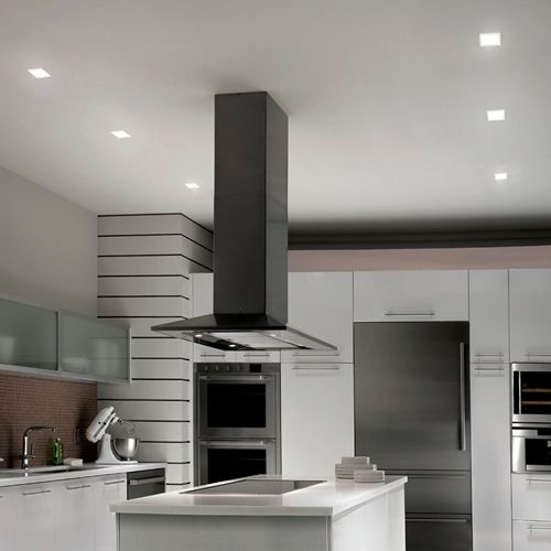 Kitchen With Wac Lighting Hr Led451tl 4 Square Led Recessed Lighting With Invisible T Recessed Lighting Layout Can Lights In Kitchen Kitchen Recessed Lighting